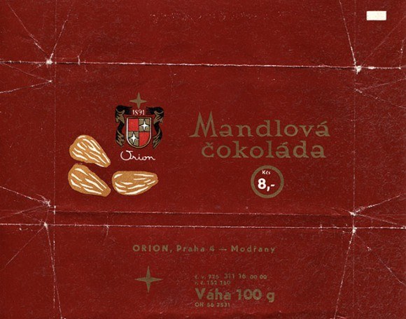 Chocolate with almonds, 100g, about 1980, Orion,  Praha, Czech Republic