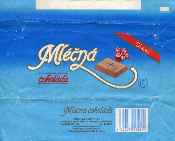 Milk chocolate, 100g, about 1987, Cokoladovny o.p., Orion, Praha, Czech Republic
