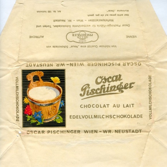 Milk chocolate, 100g, about 1970, Oscar Pischinger, Wien, Austria