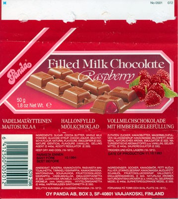Filled Milk Chocolate Raspberry, 50 g, 11.10.1993