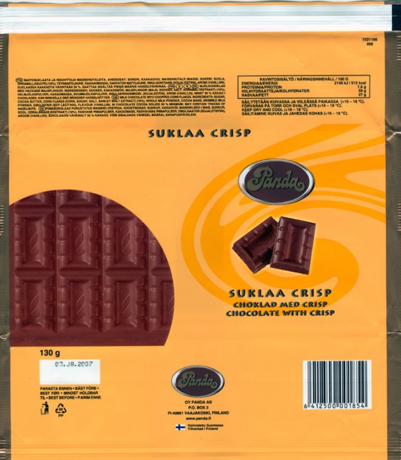 Milk chocolate with chopped corn flakes, 130g, 03.08.2006, Oy Panda AB, Vaajakoski, Finland