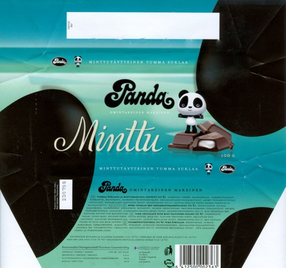 Minttu, dark chocolate with mint flavoured filling, 100g, 23.07.2007, Panda, Vaajakoski, Finland