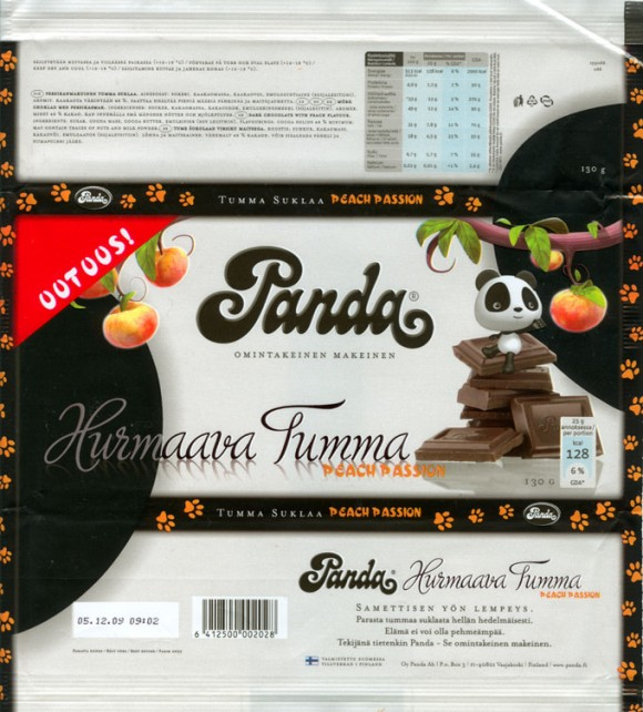 Dark chocolate with peach flavour, 130g, 05.12.2008, Oy Panda Ab, Vaajakoski, Finland