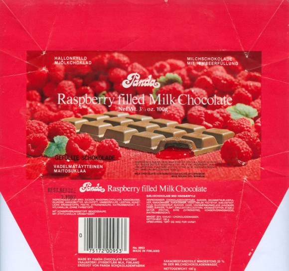 Raspberry filled milk chocolate, 100g, 1.1986, Panda Chocolate factory, Vaajakoski, Finland