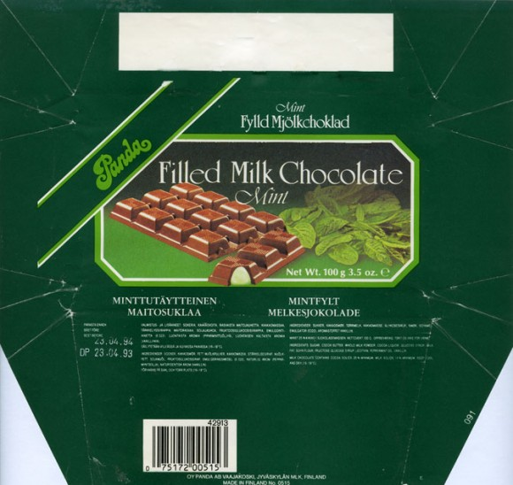 Mint filled milk chocolate, 100g, 23.04.1993, OY Panda AB, Vaajakoski, Finland