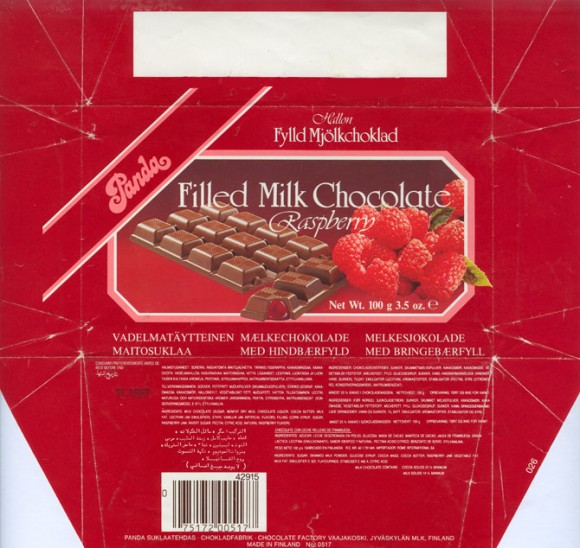 Raspberry filled milk chocolate, 100g, 11.1986, OY Panda AB, Vaajakoski, Finland