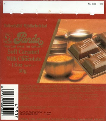 """You can taste the quality"", soft caramel filled milk chocolate, 50g, 15.02.1990, Panda chocolate factory, Vaajakoski, Finland"