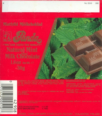 """You can taste the quality"", natural mint filled milk chocolate, 50g, 14.04.1989, Panda chocolate factory, Vaajakoski, Finland"