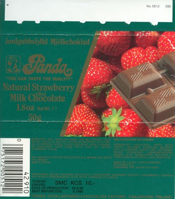 """You can taste the quality"", natural strawberry filled milk chocolate, 50g, 26.09.1989, Panda chocolate factory, Vaajakoski, Finland"