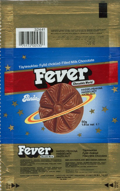 Fever, milk chocolate with hazelnut filled, 50g, Panda chocolate factory, Vaajakoski, Finland