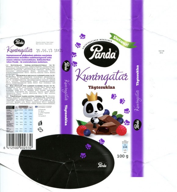 Kuningatar, milk chocolate with raspberry-blueberry filling, 100g, 20.06.2012, Panda chocolate factory, Vaajakoski, Finland