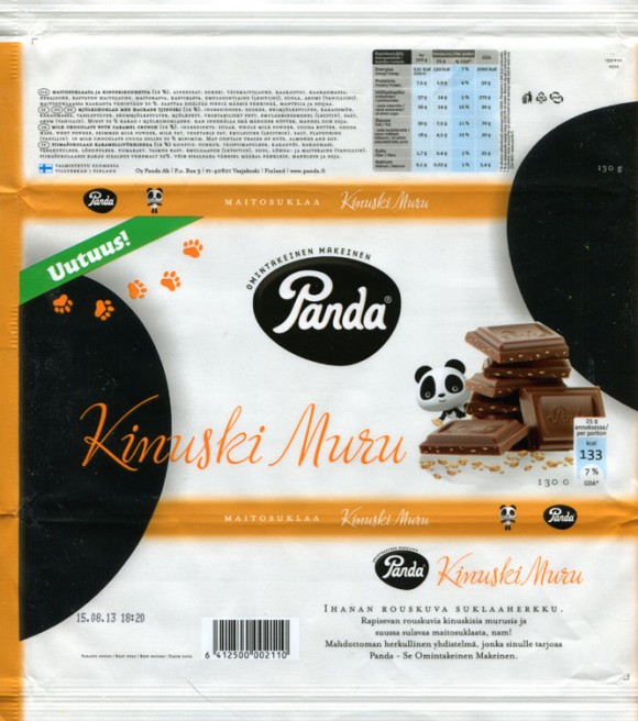 Kinuski muru, milk chocolate with caramel crunch, 130g, 15.08.2012, Panda chocolate factory, Vaajakoski, Finland