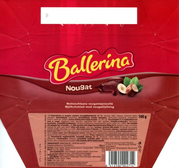 Ballerina, milk chocolate with nougat flavoured hazelnut filling, 100g, 13.12.2013, Orkla Confectionery & Snacks Finand ab, Maarianhamina, Finland www.panda.fi
