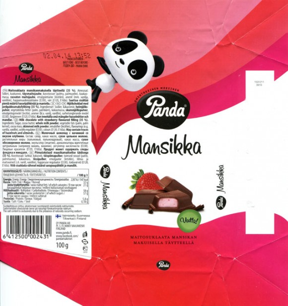 Milk chocolate with strawberry flavoured filling, 100g, 02.04.2013, Panda chocolate factory, Vaajakoski, Finland