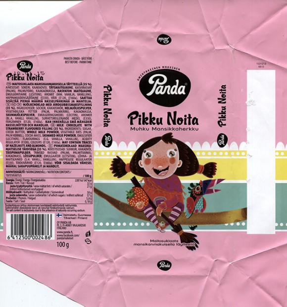 Pikku noita, milk chocolate with strawberry flavoured filling, 100g, 2014, Panda chocolate factory, Vaajakoski, Finland