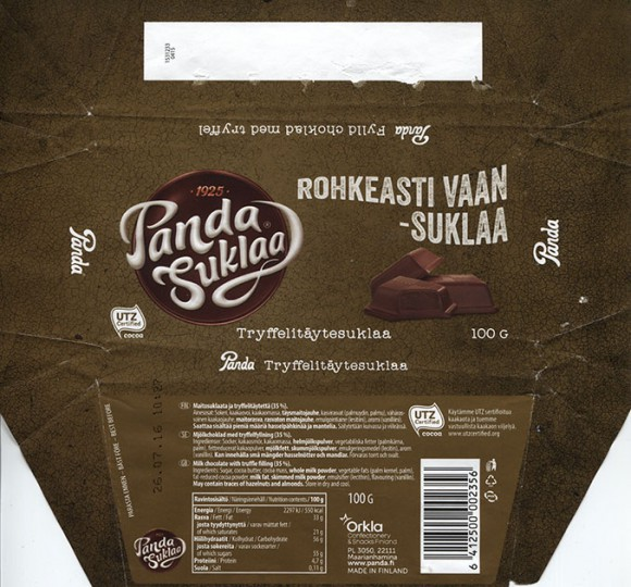 Panda Suklaa, Rohkeasti vaan - suklaa, milk chocolate with truffle filling, 100g, 26.07.2015, Orkla Confectionery and Snacks, Maarianhamina, Panda chocolate factory, Vaajakoski, Finland