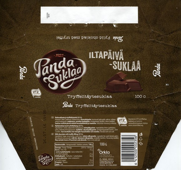 Panda Suklaa, Iltapaiva - suklaa, milk chocolate with truffle filling, 100g, 26.07.2015, Orkla Confectionery and Snacks, Maarianhamina, Panda chocolate factory, Vaajakoski, Finland