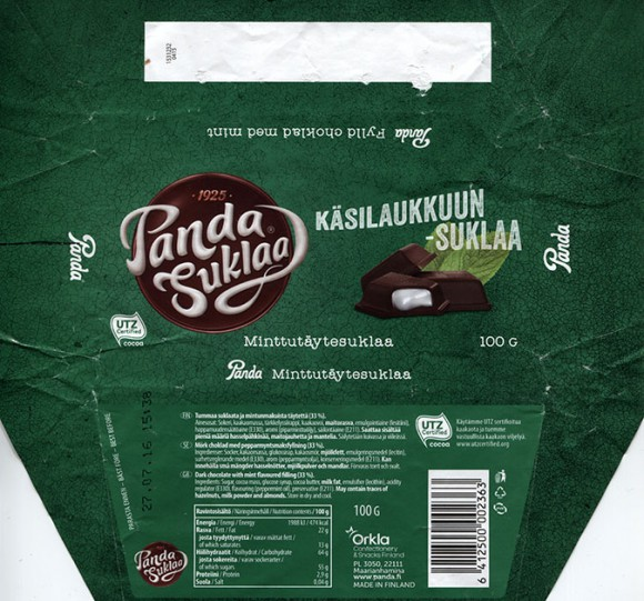 Panda Suklaa, Kasilaukkuun - suklaa, dark chocolate with mint flavoured filling, 100g, 27.07.2015, Orkla Confectionery and Snacks, Maarianhamina, Panda chocolate factory, Vaajakoski, Finland