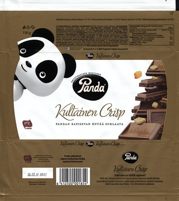 Kultainen crisp, milk chocolate with chopped corn flakes, 130g, 10.03.2015, Oy Panda Ab, Vaajakoski, Finland