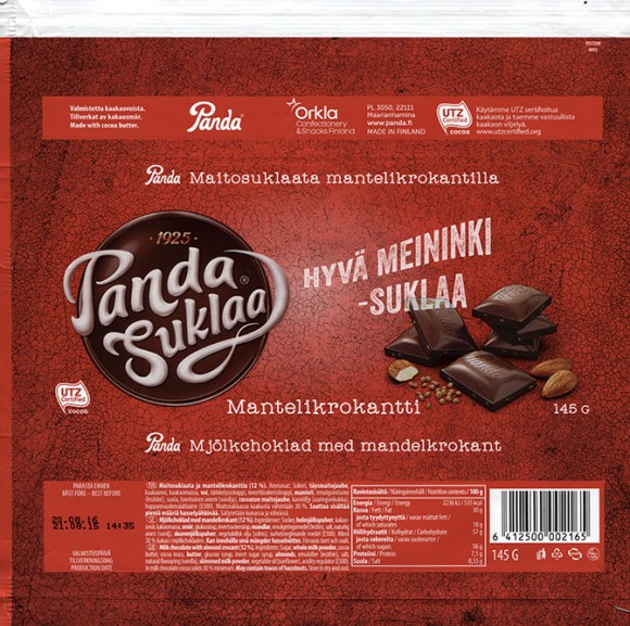 Hyva meininki- suklaa, milk chocolate with almond crocant, 145g, 21.08.2015, Orkla Confectionery and Snacks Finland, Panda, Maarianhamina, Finland