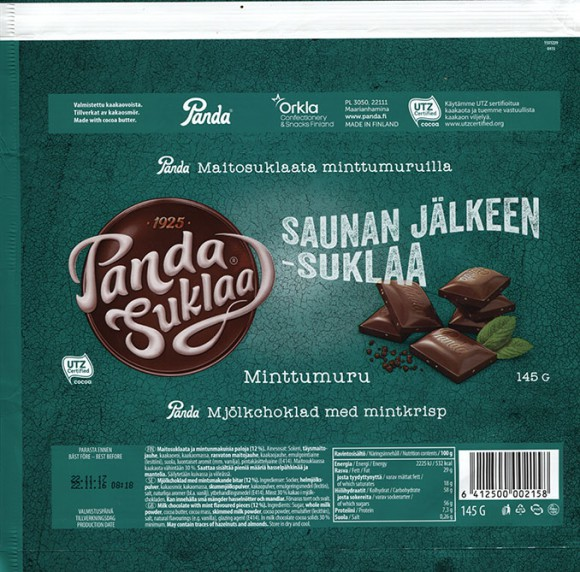Saunan jalkeen - suklaa, milk chocolate with mint pieces, 145g, 22.11.2016, Orkla Confectionery and Snacks Finland, Panda, Maarianhamina, Finland