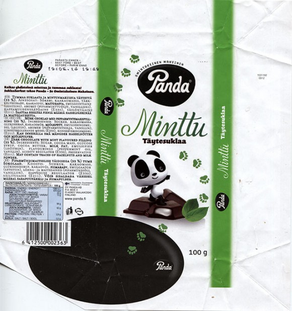 Dark chocolate with mint filling, 100g, 19.06.2013, Orkla Confectionery and Snacks Finland, Panda, Maarianhamina, Finland