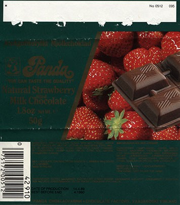 Milk chocolate filled with natural strawberry cream flavoured, 50g, 14.4.1989, Panda chocolate factory, Vaajakoski, Finland