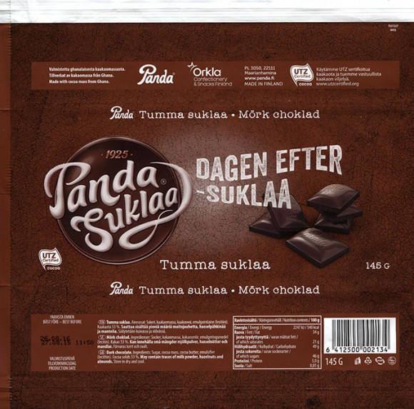 Panda suklaa, dark chocolate, 145g, 27.08.2015, Panda, Orkla Confectionery and Snacks Finland, Maarianhamina, Finland