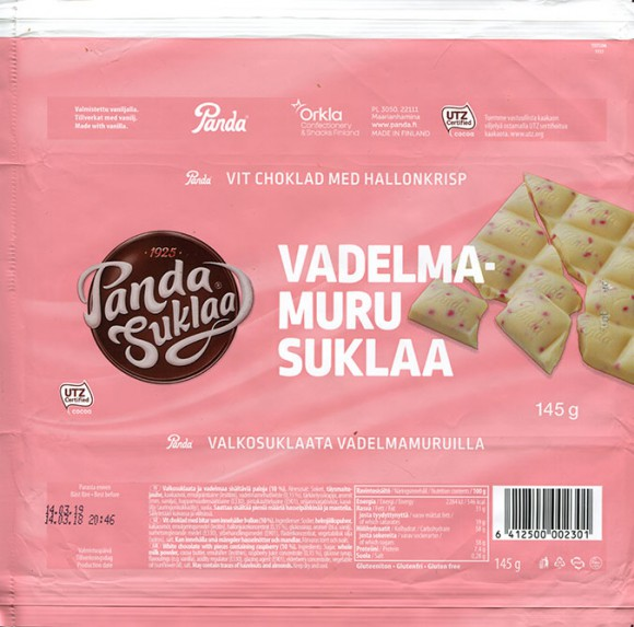 White chocolate with pieces containing raspberry, 145g, 14.03.2018, Oy Panda AB, Vaajakoski, Finland