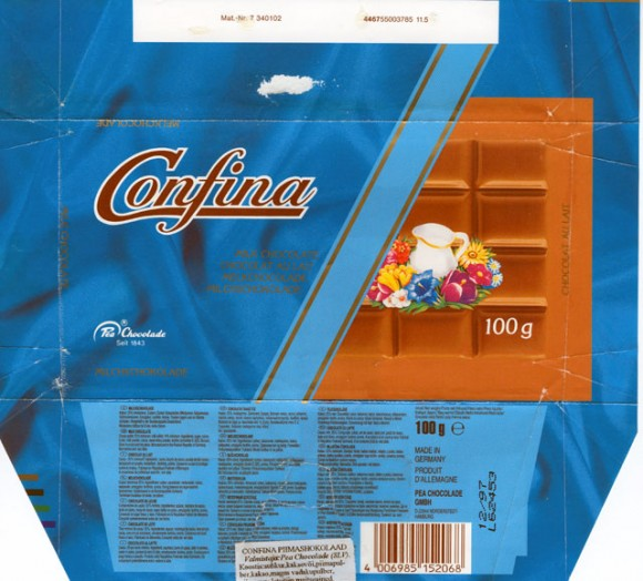 Confina, milk chocolate, 100g, 12.1997