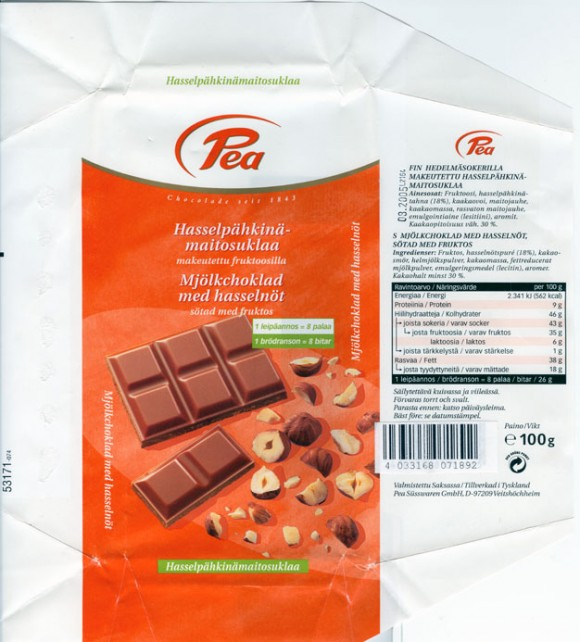 Milk chocolate with hazelnuts , sugar free, 100g, 08.2004, Pea Susswaren Gmbh, Veitshochheim, Germany