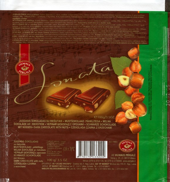 Sonata, dark chocolate with nuts, 100g, 30.12.2005, Vilnaus Pergale, Vilnius, Lithuania