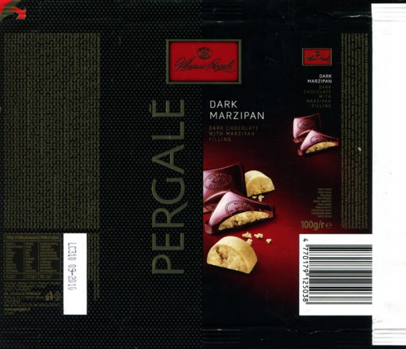 Dark chocolate with marzipan filling, 100g, 09.2009, AB Vilniaus Pergale, Vilnius, Lithuania