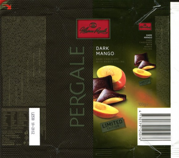 Limited edition, dark chocolate with mango filling, 100g, 10.2011, Vilniaus Pergale AB, Vilnius, Lithuania