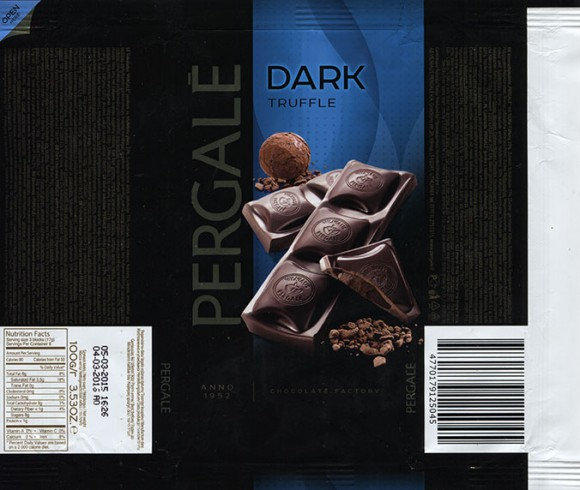 Dark chocolate with truffle filling, 100g, 05.03.2015, Vilniaus Pergale AB, Vilnius, Lithuania
