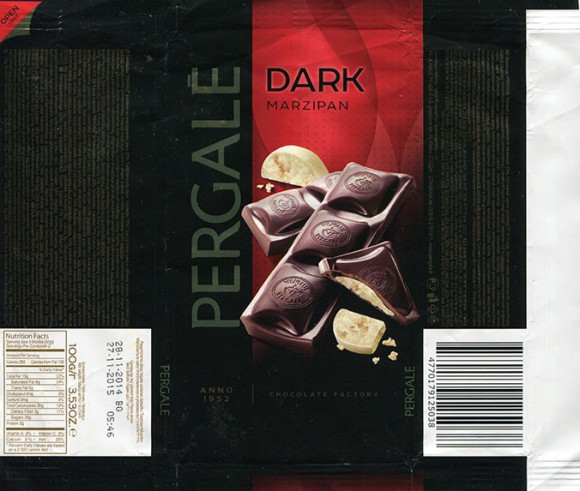 Dark chocolate with marzipan filling, 100g, 28.11.2014, Vilniaus Pergale AB, Vilnius, Lithuania