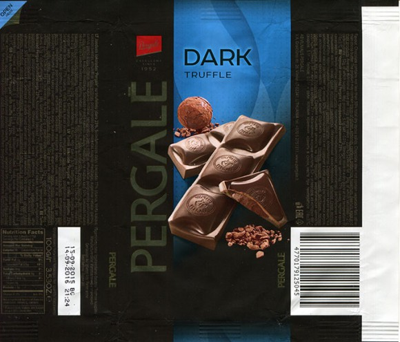 Dark chocolate with truffle filling, 100g, 15.09.2015, Vilniaus Pergale AB, Vilnius, Lithuania