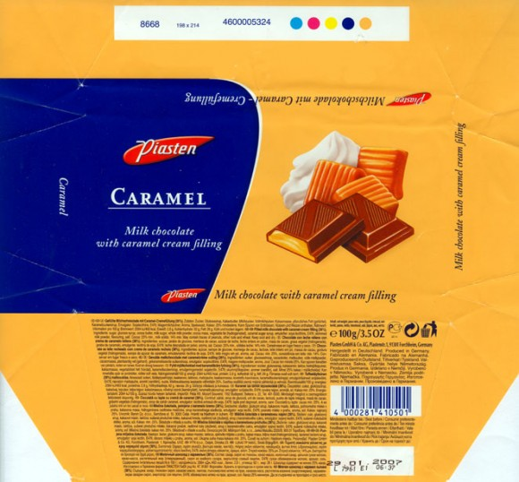 Milk chocolate with caramel cream filling, 100g, 29.01.2006, Piasten GmbH&Co.KG, Forchheim, Germany
