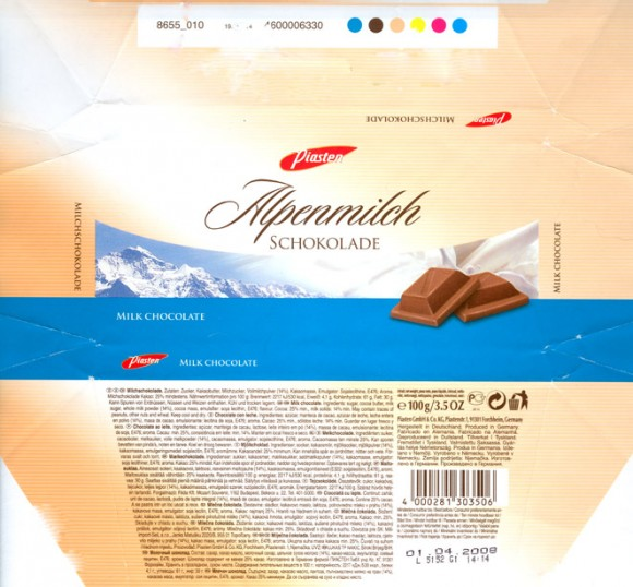 Milk chocolate, 100g, 01.04.2006, Piasten GmbH&Co.KG, Forchheim, Germany