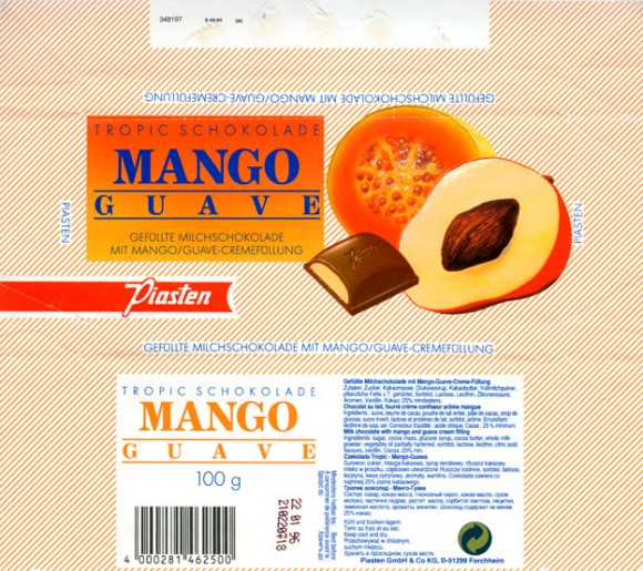 Milk chocolate with mango and guava cream filling, 100g, 22.01.1995, Piasten GmbH & Co KG., Forchheim, Germany