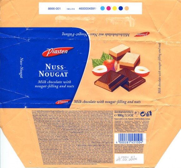 Milk chocolate with nougat filling and nuts, 100g, 25.03.2005, Piasten GmbH & Co KG., Forchheim, Germany