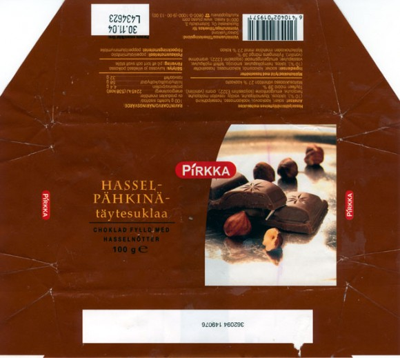 Milk chocolate with hazel nuts, 100g, 30.11.2003
