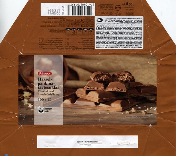 Milk chocolate with hazelnuts filled, 100g, 30.09.2013, Made in Germany Ludvig Schokolade GmbH & Co KG Saarlouis for Ruokakesko OY (Kesko)