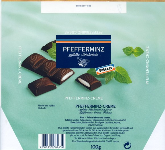 Milk chocolate filled with peppermint flavoured cream, 100g, Plus Warenhandelsgesellschaft mbH, Hamm, Germany