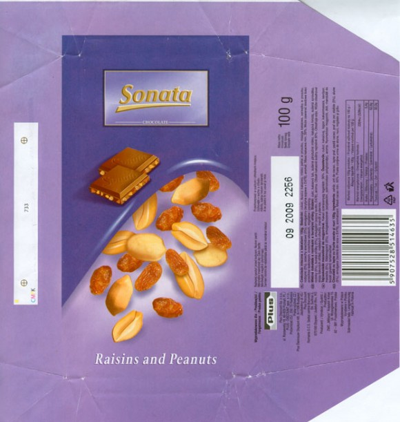 Sonata, milk chocolate with raisins and peanuts, 100g, 09.2008, Plus Discount Sp. z.o.o., Poznan, Poland