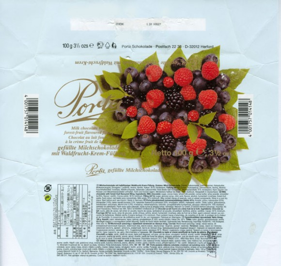 Porta, milk chocolate with forest-fruit flavoured filling, 100g, 04.2006, Porta Schokolade, Postfach 22 38, D-32012 Herford, Germany