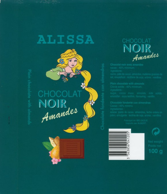 Alissa, plain chocolate with almonds, 100g, Made in Belgium for Albert