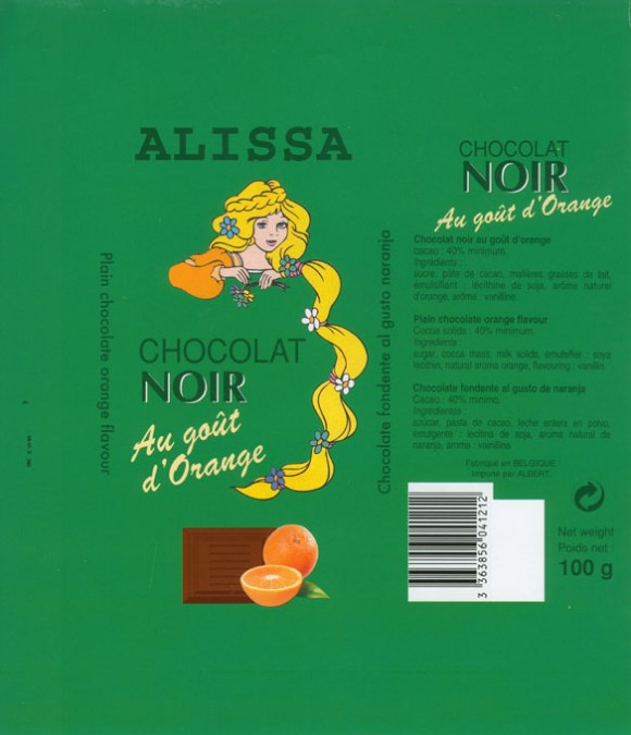 Alissa, plain chocolate orange flavour, 100g, Made in Belgium for Albert