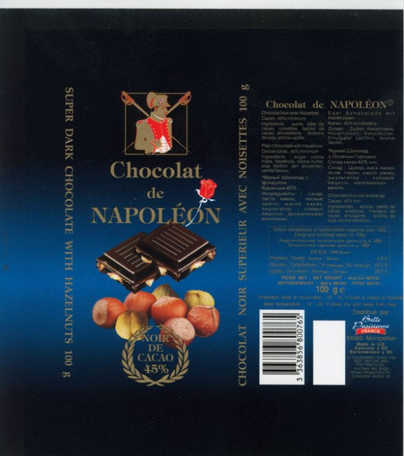 Chocolat de Napoleon, plain chocolate with hazelnuts, 100g, Made in Belgium for Belle Parisienne France