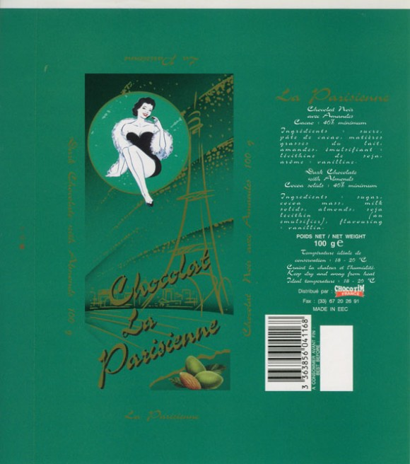 Chocolat la parisienne, dark chocolate with almonds, 100g, Made in Belgium for Chocotim France
